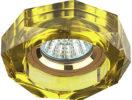 DK6 GD/YL Светильник ЭРА декор стекло объемный многогранник MR16,12V/220V, 50W, GU5,3 хром/желтый