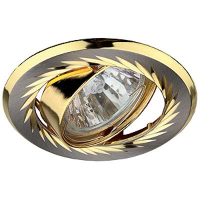 KL6 A SN/G Светильник ЭРА литой пов. с гравировкой по кругу MR16,12V/220V, 50W сатин никель/золото
