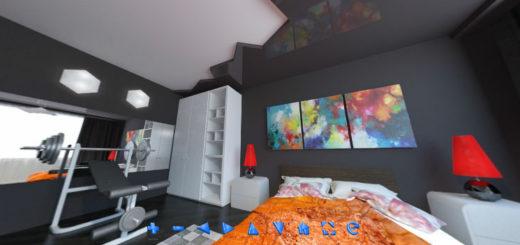 Графит и белый: спальня с двухцветным натяжным потолком