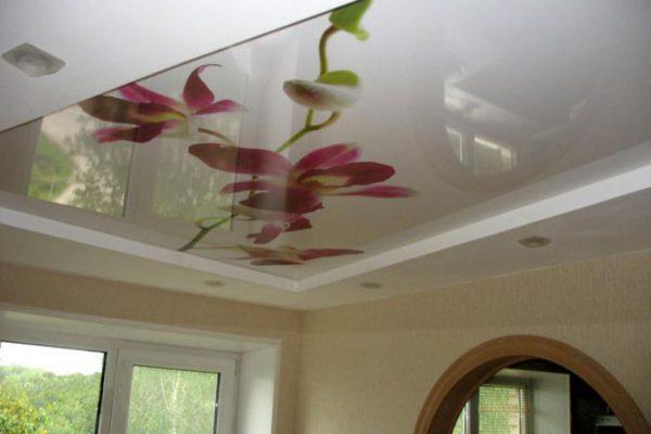 Двухуровневые натяжные потолки с фотопечатью
