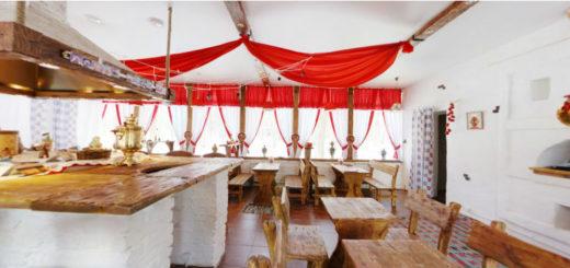 Сатиновый натяжной потолок в кафе, стилизованном под старину