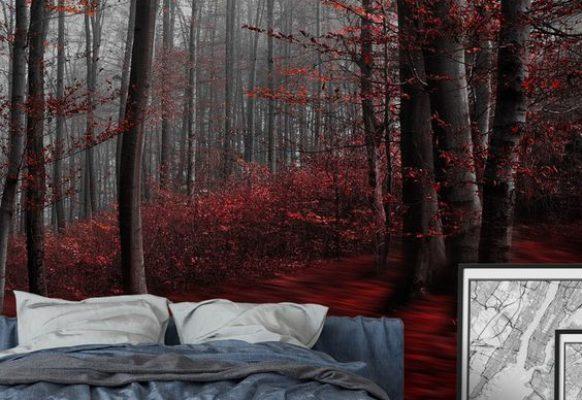 Бесшовные фотообоии в спальне